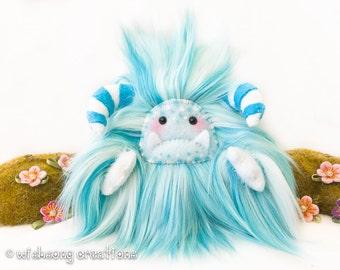 "Yeti artist bear, monster plush aqua blue and white faux fur, fantasy creature, collectible artist toy, kawaii plush, cloud yeti ""Nimbus"""