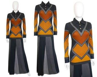Roberta di Camerino 1970s Vintage Maxi Dress Trompe l'Oeil US Size 6 Small