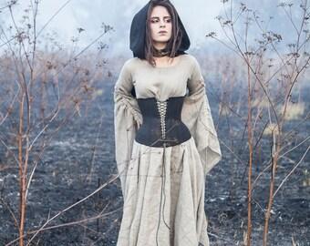 Linen Dress with Corset; Dress and Corset set; Black Corset Belt