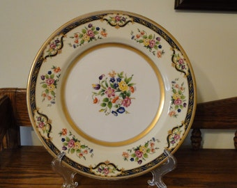 Retired Johnson Brothers Mayfair Plate, Decorative Floral Serving Plate, Flower Bouquet, Blue & Gold Trim Serving Tray
