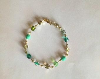 Green and Gold Czech Beaded Bracelet
