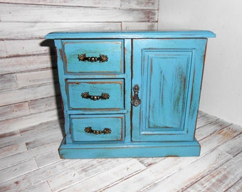 Vintage Painted Jewelry Box - Teal Painted Wood Jewelry Box - Jewelry Storage - Painted and Distressed Jewelry Box - Teal Jewelry Chest