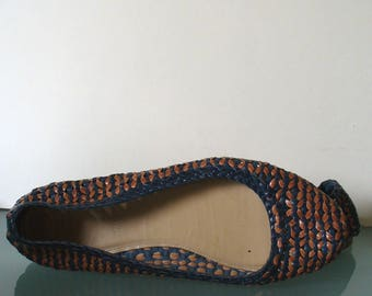 J. Crew Made in Italy Woven  Leather Ballet Flats Size 8US