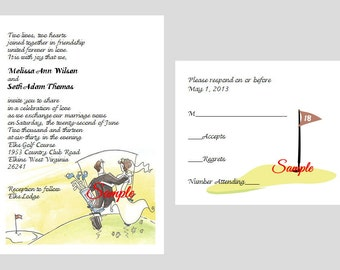 100 Personalized Custom Golf Bridal Wedding Invitations Announcement Cards  + RSVP Cards + Envelopes