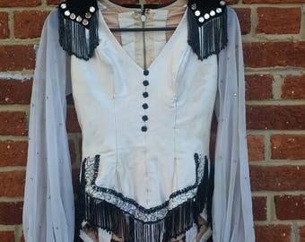 Vintage 60s 70s Showgirl Costume // Ice Follies Costume // Rhinestone Beaded Leotard