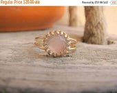 SALE - Rose Quartz ring - Gold Rose ring - Rose quartz gold ring - Rose Quartz band - Love band ring - Gold band ring - Pink ring, Any Size