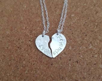 Bestfriend necklace, Broken heart necklace, Personalised jewelry, Bestfriend gift, Gift for best friend, Bestfriend, Heart necklace