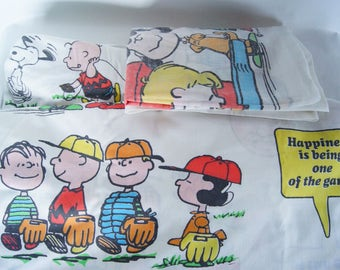 1971 SNOOPY Charlie Brown PEANUTS Gang TWIN Sheet Set Vintage Retro Charles Shultz Flat Fitted and Pillowcase Bed Linens Children