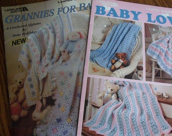 Crocheted Baby Afghan Books,Set of 2,Baby Love,Grannies for Baby - FREE SHIPPING