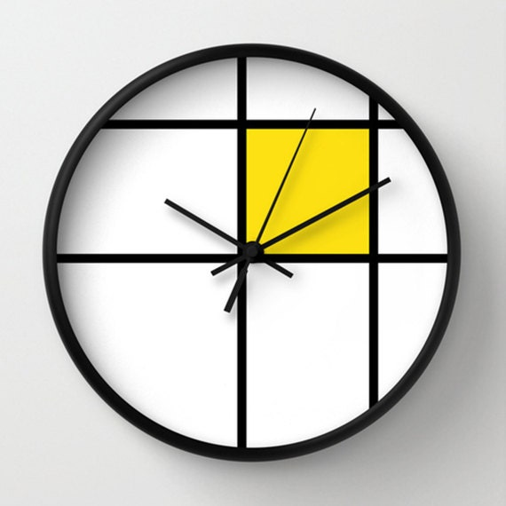 Mondrian 2 Yellow Wall Clock Unique Wall Clocks 10