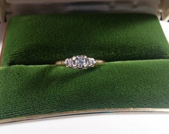 Art Deco 14k 18K  gold diamond engagement ring
