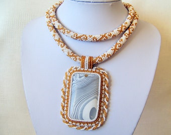 Statement Beadwork Bead Embroidery Pendant Necklace with White Onyx Agate - WHITE FLOWER - white and gold colors necklace - modern necklace