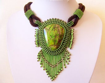Bead Embroidery Necklace Pendant Beadwork with Green Sea Sediment Jasper  - Statement necklace - GREEN EARTH - green - brown