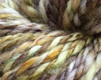 Hand Spun Yarn Chunky Blue Faced Leicester in Yellows and Greens 107yds