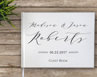 Calligraphy Wedding Guest Book, Elegant Wedding Guestbook, Custom Guest Book, Personalized Guest Book