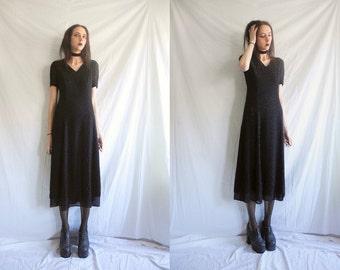 90's Jaeger minimal/goth black short sleeve spot glitter/metallic chiffon maxi dress.