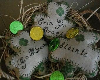 Primitive Set of Three Shamrocks, Clovers, St Patrick's Day
