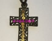 Beautiful vintage filigrain cross with colored rhinestones