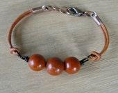 Custom Listing - Red Jasper Bracelet, Jasper and Leather Bracelet, Bohemian Style, Gemstone Bead, Copper and Tan Boho Jewelry