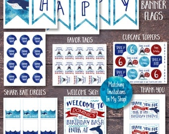 Shark Party Decorations, Printable Shark Party Decorations, Printable Shark Decorations, Shark Decorations, Shark Birthday Party, Shark