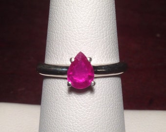 Natural Ruby Ring Pear Shape Solitaire Sterling Silver Size 7 July Birthstone Ring