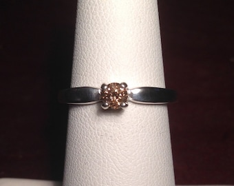 1/4 CT Champagne Diamond Round Solitaire Ring Unenhanced Sterling Silver Engagement Wedding Promise Ring