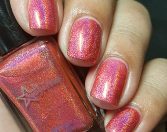 Pink Corazon Pink Coral Holographic Rose Romance Holo Indie Nail Lacquer Starlight Polish