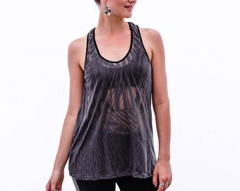 Gray Cut Out Top, Burnout Top, Womens Tank Tops, Open Back Top, Black Top, Urban Chic, Festival Fashion