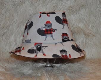 Newborn, baby, toddler or kids reversible summer bucket hat ~ Burly beavers & plaid