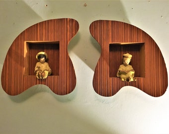 Awesome Googie atomic SET of 2 SHADOW BOX boomerang amoeba 1950 Originals