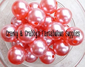 CLEARANCE  20mm Resin  Neon Pearl Beads  - Red -  Chunky Necklaces - Set of 10 -