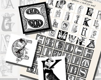 Art Nouveau Monogram Initials in Black and White, ONE INCH SQUARES (25 mm), with 1/2 inch (13mm) and 3/4 inch (20mm) squares