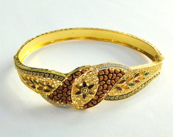 Gold Bangle 22k Solid Gold Cuff Bracelet fine handmade jewelry traditional india
