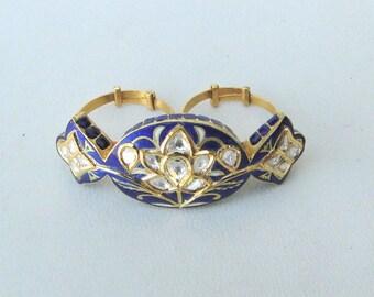 Vintage Antique 20k Gold Diamond Polki Kundan Enamel Work Double Finger Ring