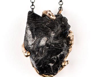 Shungite Pendant with silver chain - Unique Piece healing jewelry for men and women