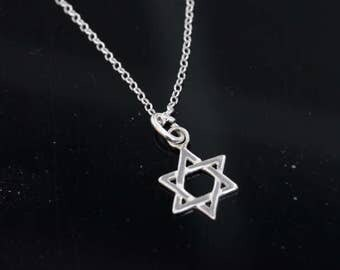 Sterling silver Star of David Necklace, Silver star of David Jewelry, Star of David pendant, Star of David jewelry