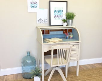 Kids Desk and Chair Set - Kids Room Furniture - Small Wooden Desk - Small Kids Desk - Oak Desk - Small Childrens Desk, Antique Roll Top Desk