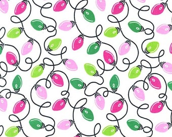 Christmas Fabric/Tangly Lights/Michael Miller/Cotton Sewing Material/Pink and Green/Quilting/Fat Quarter, Half, or By The Yard, Yardage