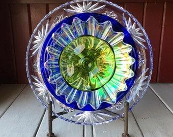 """Repurposed Glass Flower, Sun Catcher Glass Garden Art - """"Athena"""" Cobalt Blue Lime Green IRIDESCENT Glass Flower, Made from Glass Plates"""