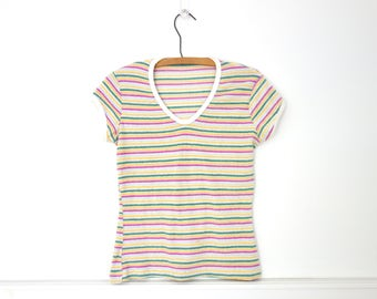 Vintage 70s Striped Terry Cloth T Shirt Fitted short sleeve top Pink Green Yellow Stripes Size Small