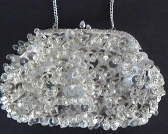 Vintage Clutch Purse With Sequins, Sparkling Evening Bag, Wedding Purse