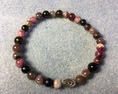 6mm Black and Watermelon Tourmaline, Stretch Bracelet, Tibetan Silver Accent