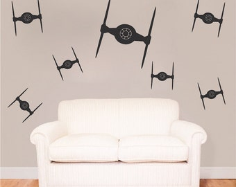 Tie Fighter Bedroom Kit Decals Star Wars Wall Decal Star Wars Mural Tie Fighter Kit Wall Vinyl Removable Star Wars Wall Vinyl Decal, g93