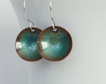 Teal Enamel Disc Earrings - Copper Green - Enamel Jewelry