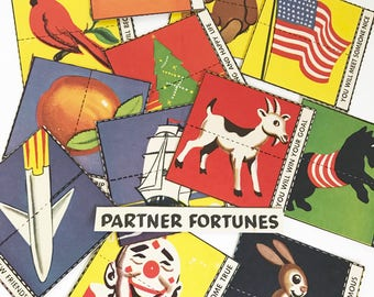 Partner fortune game pieces for mixed media, collage, crafting or collecting