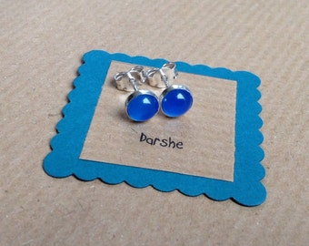 Blue Stud Earrings, Blue Onyx Studs, Blue Earrings, Sterling Silver earrings, Blue Studs, gemstone studs