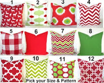 Red PILLOWS Red Decorative Throw Pillows Green Holiday Christmas Pillow Covers 12x16 Lumbar 16x20 .ALL Sizes. Polka Dots Pillow Covers