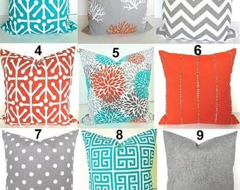 OUTDOOR PILLOWS Teal Throw Pillow Covers Turquoise Pillows Grey Orange Pillow Covers 18x18 16x20 Lumbar Gray Outdoor Pillows All Sizes. Home