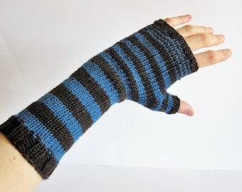 Wool knit handwarmers. Blue brown mittens. Mitts. Fingerless Gloves for women. Hand knitted Women accessories.