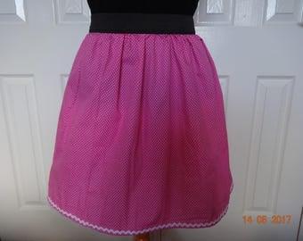 Handmade pink polka dot elasticated waist skirt skater quirky 12 M Rockabilly summer